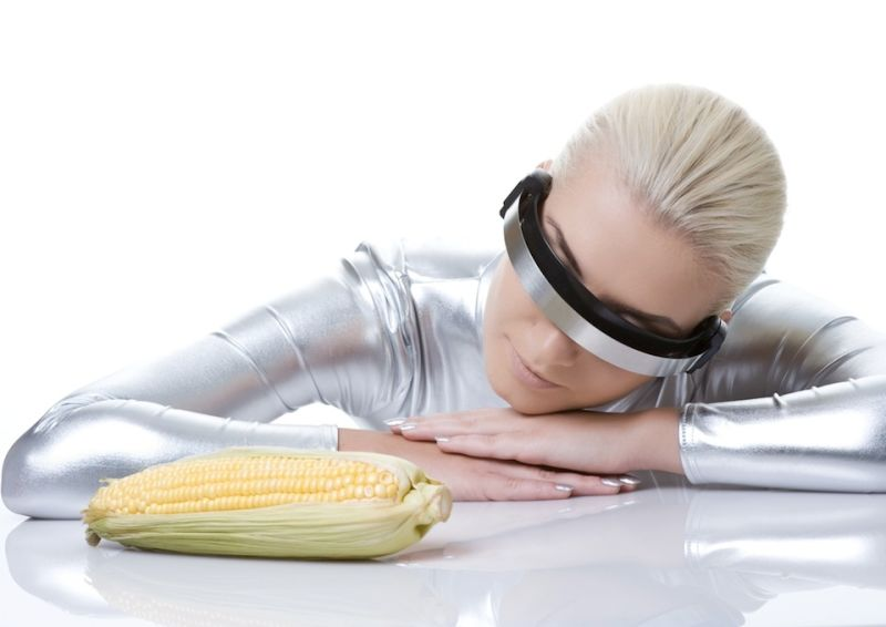 cyber corn woman stock photo
