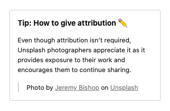How to give attribution — Unsplash License